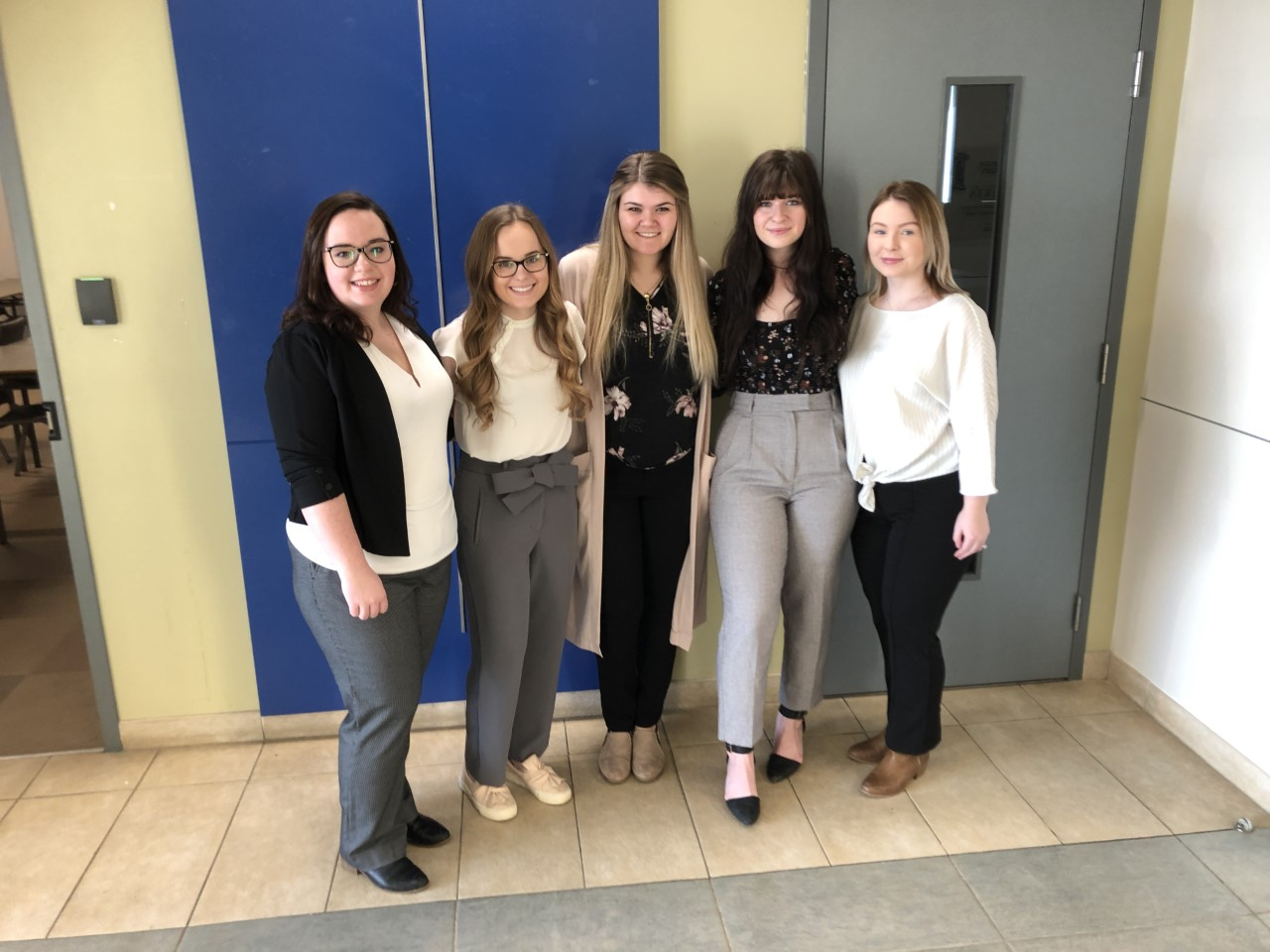 Education Students who did practicum in Anzac (winter 2020) Left To Right- Jenna Majeau, Emily Burden, Taylor Bowman, Brittany Brake, Courtney Bursey