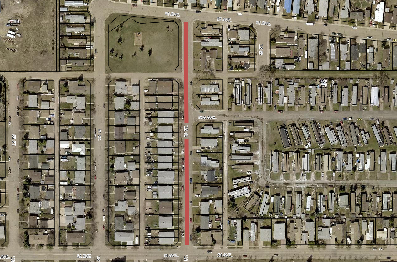 Road Closure - 50 Street from 54 Avenue to 55 Avenue